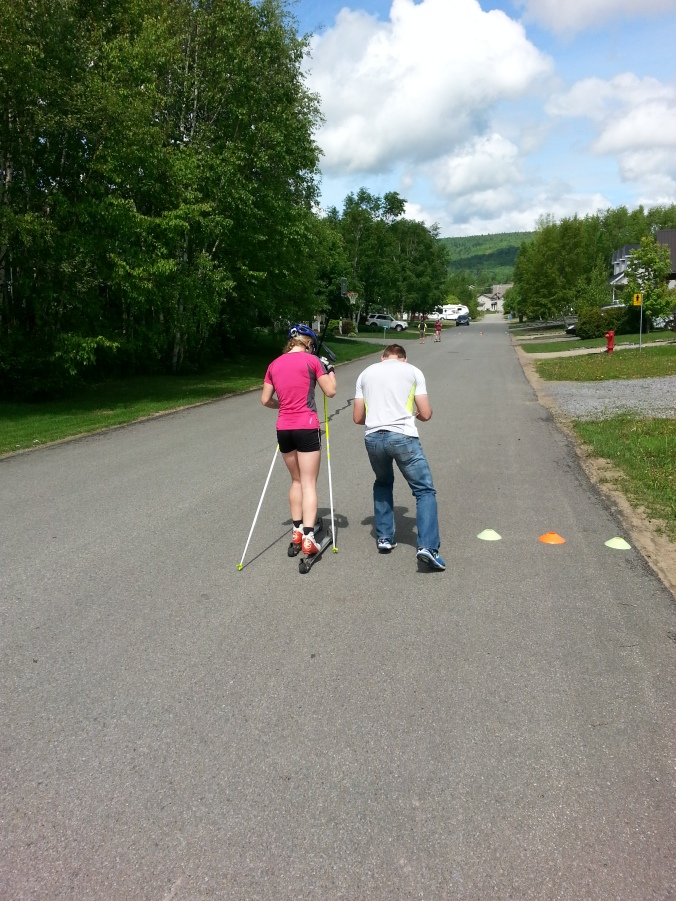 Anne-Marie gets instructions from coach François Pépin.