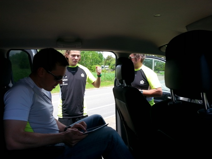 As the training session comes to an end, the coaches do a quick debriefing.