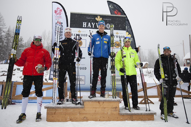 Sr men's sprint podium/Le podium du sprint sr masculin: Erik Bjornsen, Miles Havlick, Graham Nishikawa.