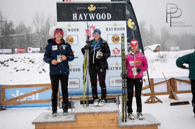 Jr podium jr: Katherine Stewart-Jones, Dahria Beatty, Anne-Marie Comeau