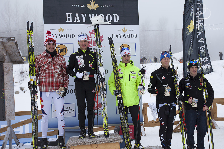 Sr 15 km C podium/Le podium du 15 km C sr: Kevin Sandau, Sylvan Ellefson, Graham Nishikawa.