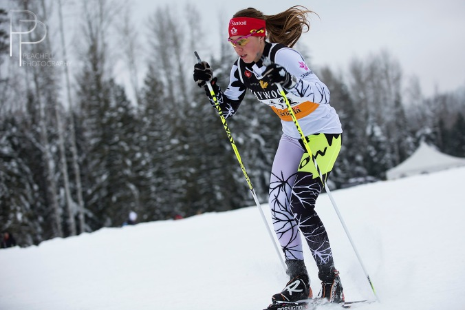 Maya MacIsaac Jones placed 10th in the sprint./Maya MacIsaac Jones a fini 10e au sprint.