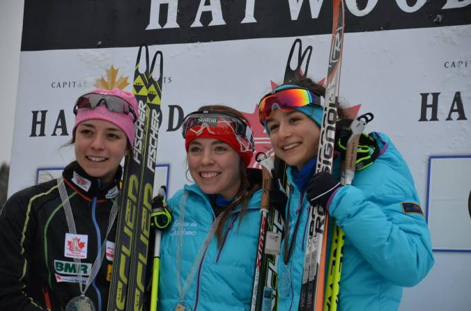 Le podium du sprint #2 des femmes juniors: Katherine Stewart-Jones, Frédérique Vézina et Sophie Carrier-Laforte  (photo: Emily Stewart-Jones)