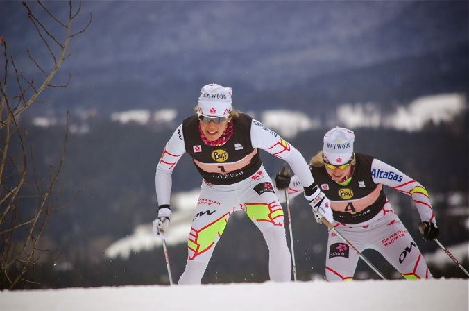 Heidi Widmer helped secure her nomination to the Olympic team  by placing 2nd in the first sprint behind eventual winner Chandra Crawford (#4), already selected. (Photo: Angus Cockney)