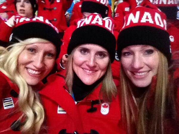 Kaillie Humphries, Hayley Wickenheiser and Heather Moyse at the opening ceremonies (photo: twitter)