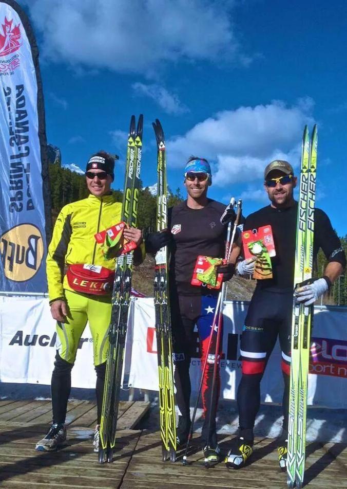 The men's podium : winner Andy Newell, Dakota Blackhorse-von Jess, 2nd and Swiss Inniger Mathias 3rd (photo: Twitter/Andy Newell)