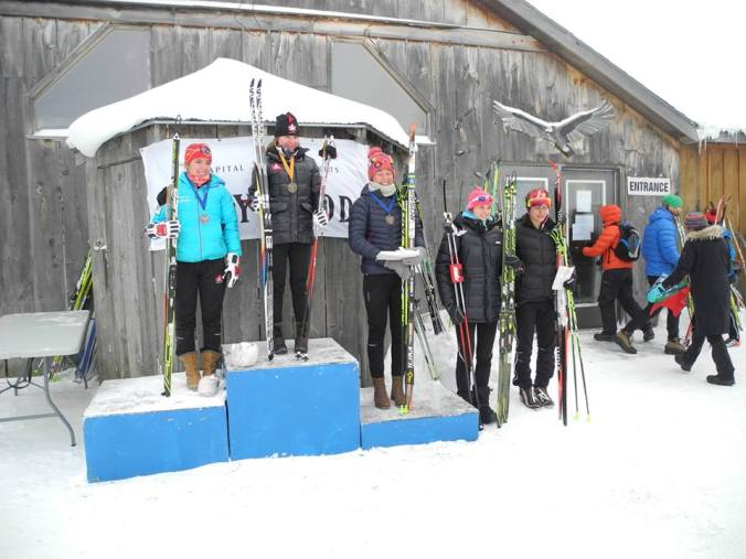 The Jr Women skiathlon podium (photo: Jennifer_Jackson)