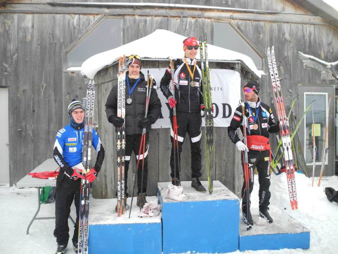 The Jr Men Skiathlon Podium: Alexis Dumas, Ricardo Izquierdo-Bernier, Zachary Cristofanilli (photo: Jennifer Jackson)