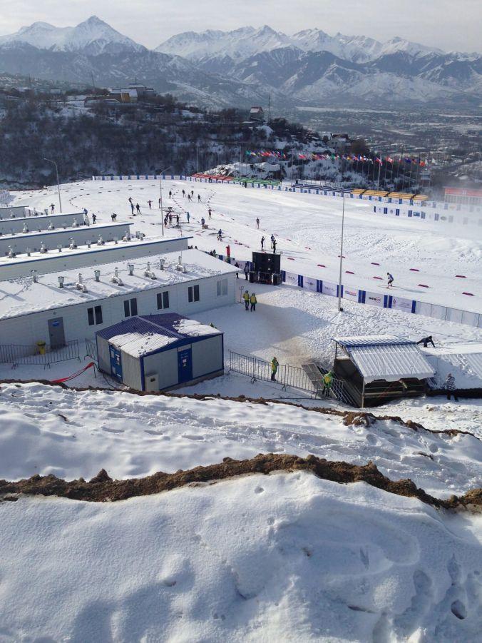 Vue du stade d'Almaty à partir du parcours