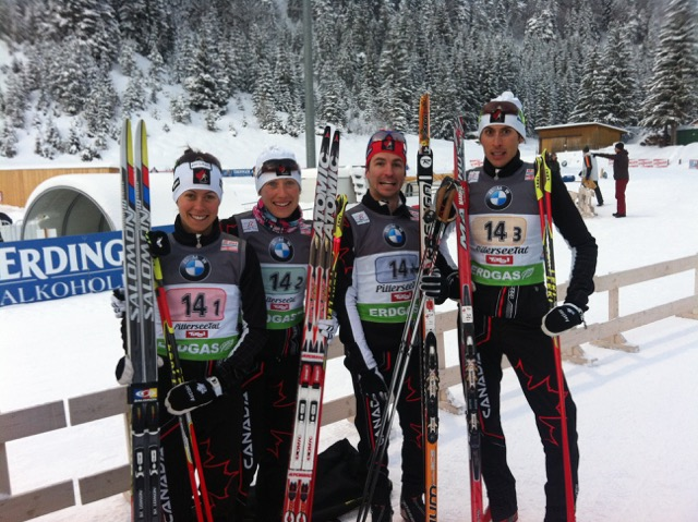 Megan Imrie, Zina Kocker, JP Leguellec, Brendan Green, 6th place at Hochfilzen, Austria 2012