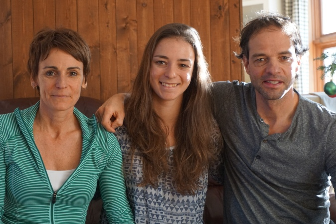 Frédérique Vézina en compagnie de ses parents, Annie Langlois et Jocelyn Vézina (photo: pierre shanks)